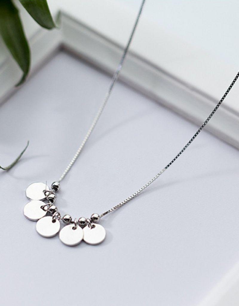 KAYA sieraden Gepersonaliseerd zilveren kettinkje '5 discs'