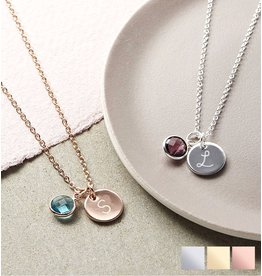 KAYA sieraden Silver Necklace 'Disc & Birthstone'