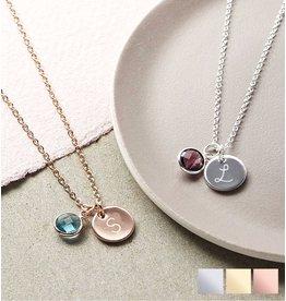 KAYA sieraden Zilveren Ketting 'Disc & Geboortesteen'