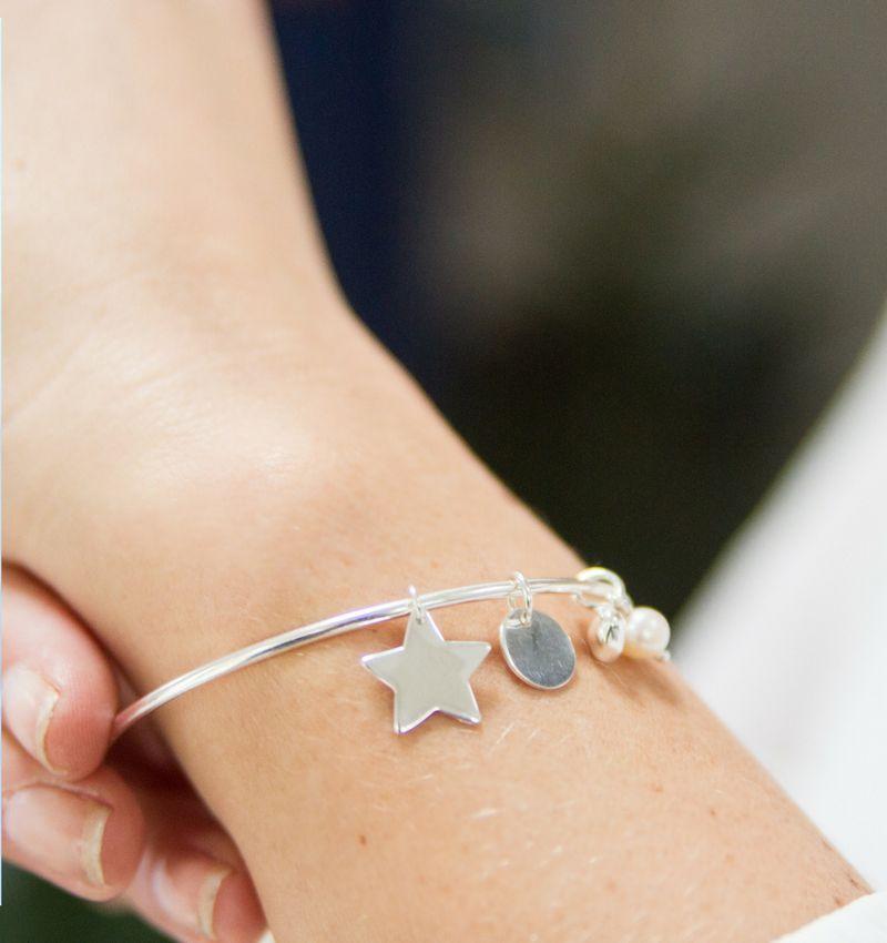 Zilveren bangle armband met bedels 'Stel zelf samen'
