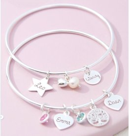 Zilveren bangle armband met bedels