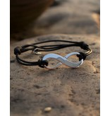 KAYA sieraden Adjustable leather bracelet 'infinity'