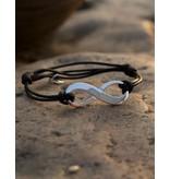 KAYA sieraden Verstelbaar leren armbandje 'infinity'