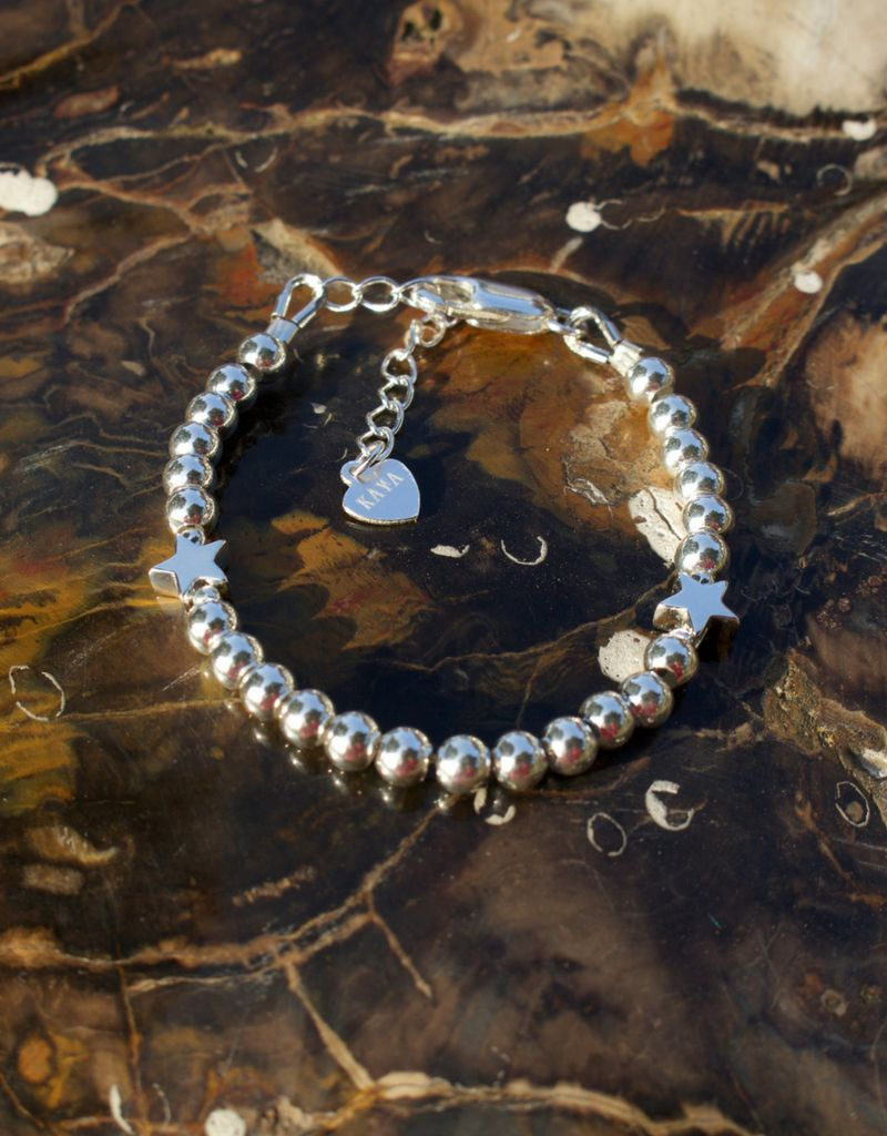 KAYA sieraden Zilveren armband 'Cute Balls' - met 2 sterren