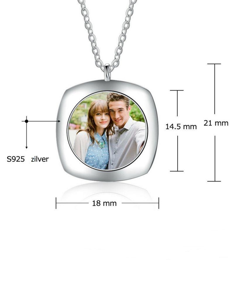 KAYA sieraden Zilveren ketting met foto 'memory'