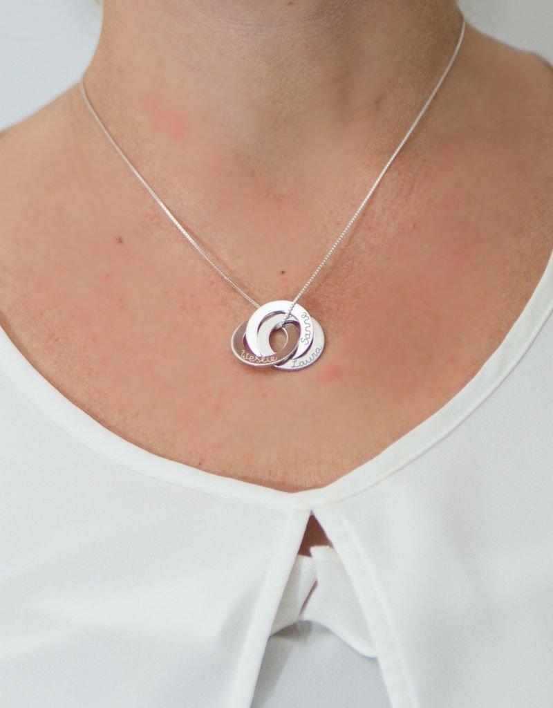 KAYA sieraden Zilveren Ketting 'Vervlochte Circels '