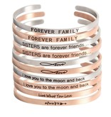Bangle with text 'I love you to the moon and back'