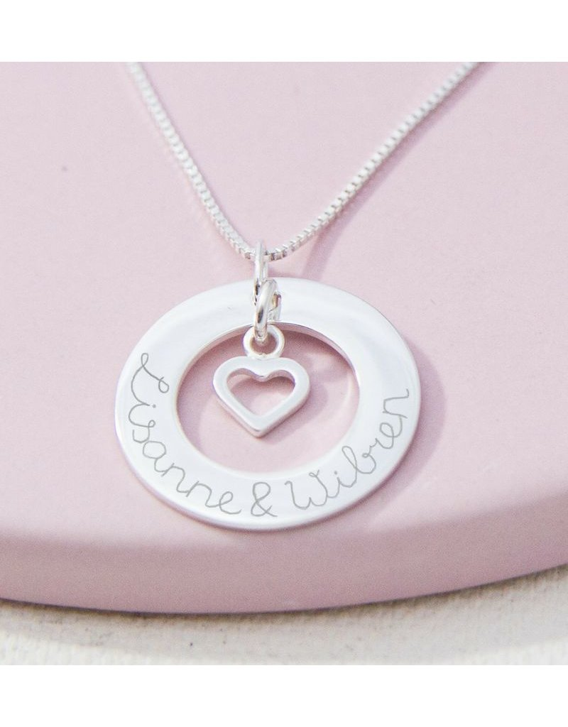 KAYA sieraden Silver Necklace 'Handwriting' with Pareltje - Copy