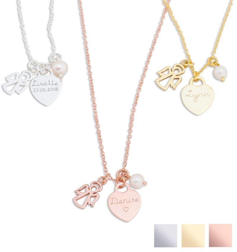 KAYA sieraden Zilveren ketting 'Angel' met Graveerbedel & Parel