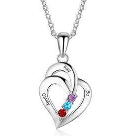 KAYA sieraden Birthstone necklace 'three hearts' - Copy - Copy