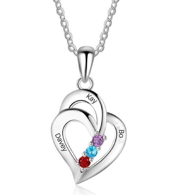KAYA sieraden Gepersonaliseerde ketting 'Three Hearts' geboortestenen '