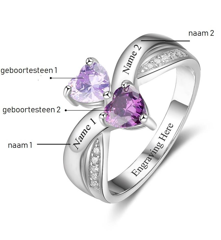 KAYA sieraden Birthstone & Engraved Ring 'Classy' - Copy