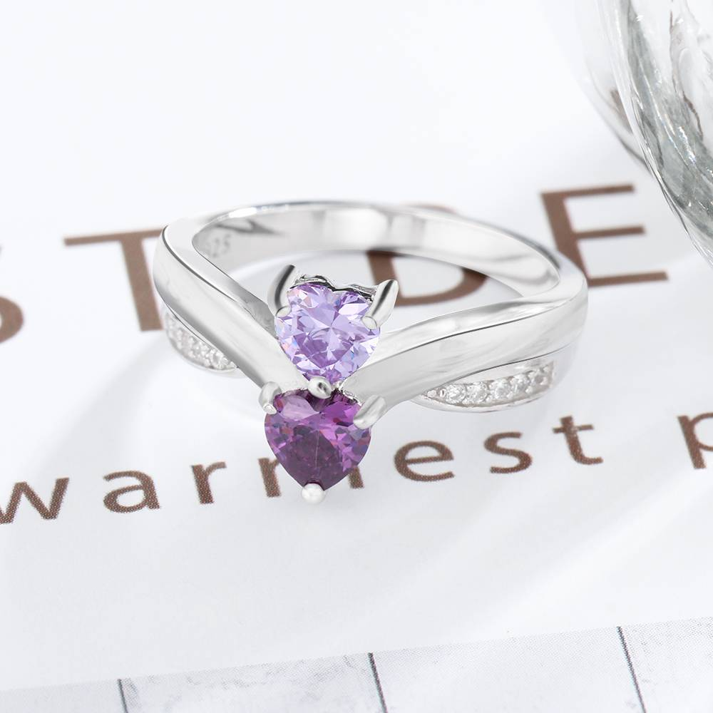 Birthstone & Engraved Ring 'Classy' - Copy