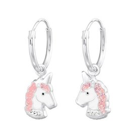 KAYA sieraden Zilveren creolen 'Eenhoorn hoofdjes'