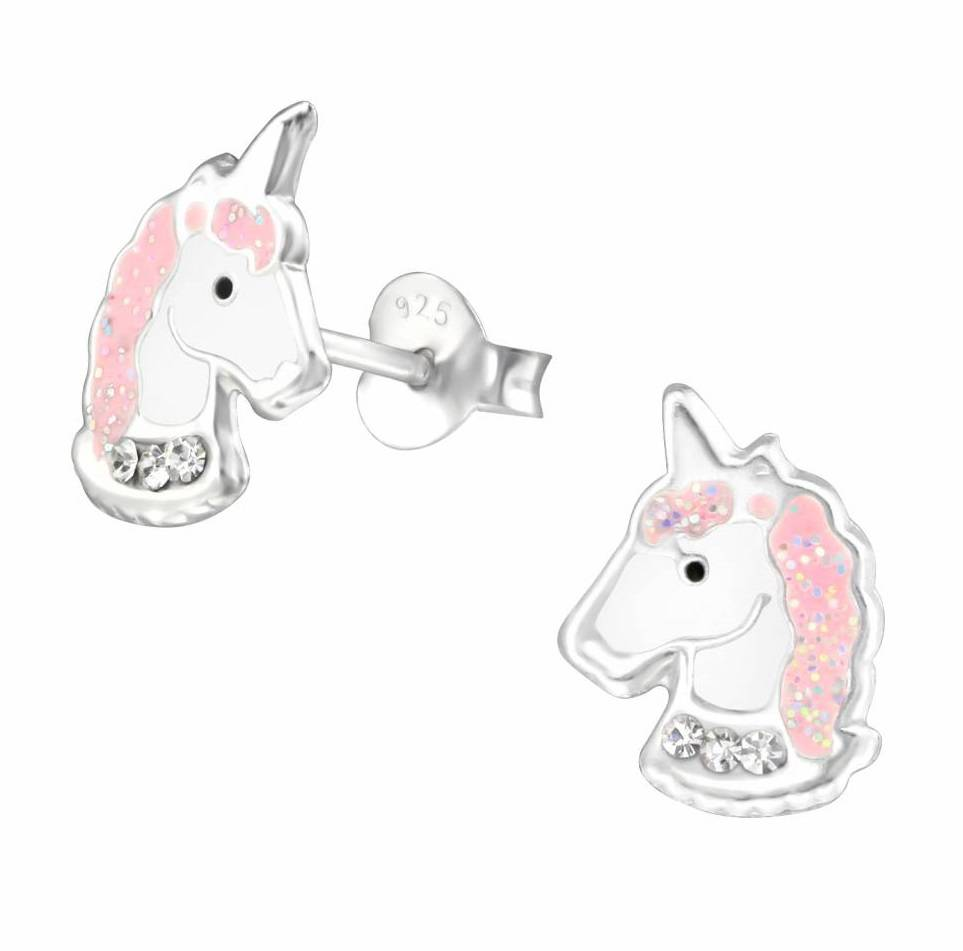 KAYA sieraden Zilveren kinderoorbellen 'Crystal Unicorn'