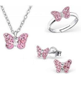 KAYA sieraden ketting & oorbellen & ring 'roze vlinder'
