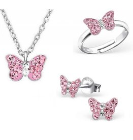 Silver set: Necklace & Earrings & Ring 'butterfly'