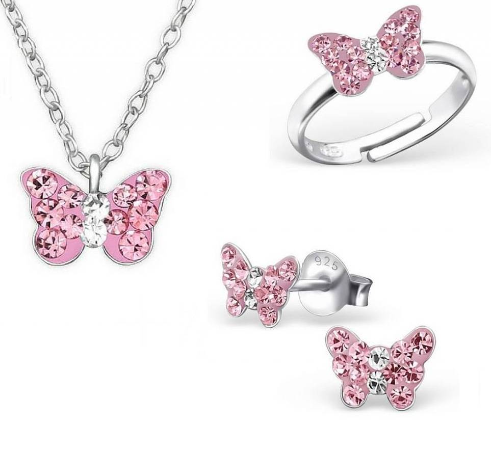 KAYA sieraden Zilveren set: ketting & oorbellen & ring 'roze vlinder'