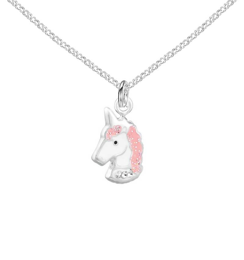 KAYA sieraden Zilveren Ketting 'Glitter Unicorn'