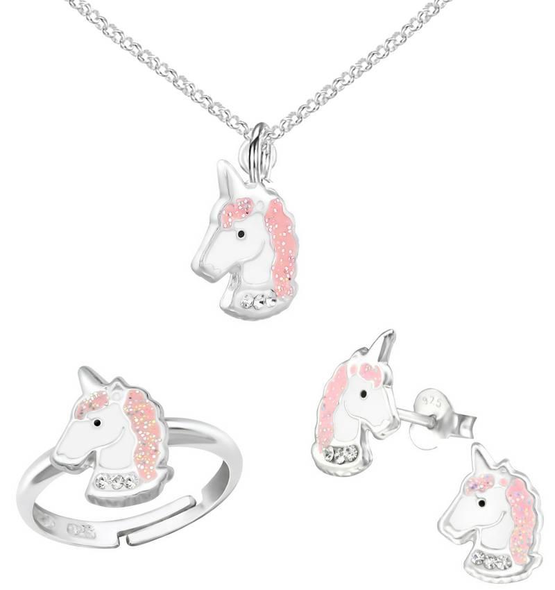 KAYA sieraden Zilveren Ketting & Ring & Oorbellen 'Glitter Unicorn'
