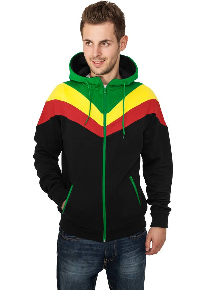 Urban Classics Arrow Sweat Zip Hoody Black/ Rasta - Firsthype.es