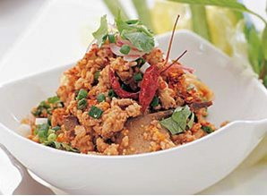 Pittige rundvlees salade (Laab Neua)