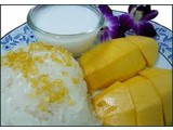 Sød klæbrig ris med mango (Khao Niaow Ma Muang)