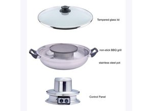 Multi-Cooker Electric Hotpot with BBQ Grill