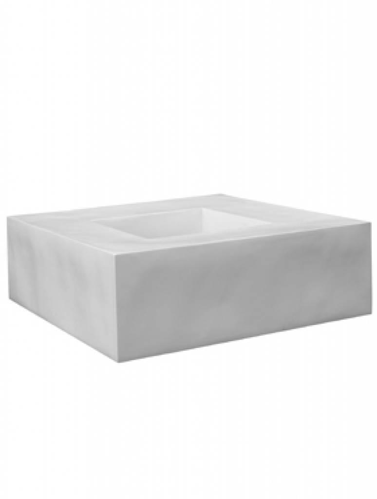Fiberstone Jumbo Seating blanc brillant - planteur unique et polyvalent pour l'intérieur et à l'extérieur!