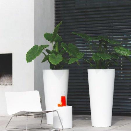 Elho Elho Pure Droite Ronde Haute. Blanc haut pot de fleurs rond diam 40cm H80cm. -15% commander en ligne!