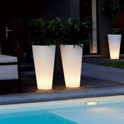 Elho Pure Straight High Led Light Pot de fleurs