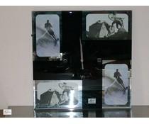 Periglass wallclock mirror met 4 foto's