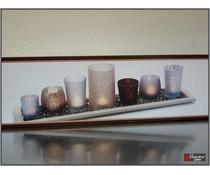 houten plateau met 7 glaasjes