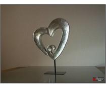 sculptuur cuore poly zilver