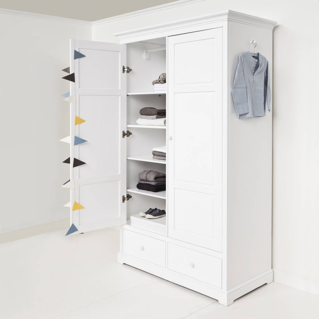 oliver furniture kleiderschrank 2 t rig wei. Black Bedroom Furniture Sets. Home Design Ideas