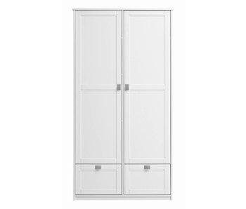 LIFETIME Kleiderschrank mit 2 Türen u. Schubladen weiß