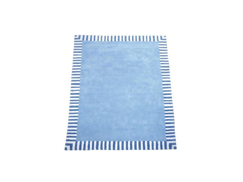 Annette Frank Teppich hellblau mit Streifenrand 140 x 200 cm