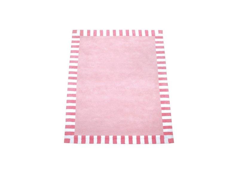Annette Frank Teppich rosa mit Streifenrand 140 x 200 cm