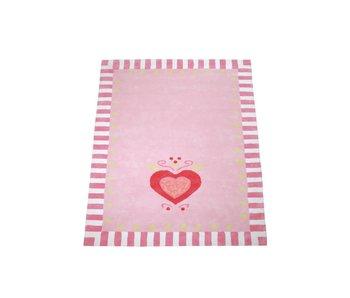 Annette Frank Teppich rosa mit Herz 140 x 200 cm
