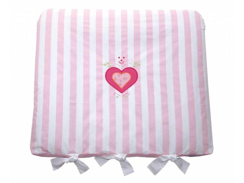 Annette Frank Wickelauflage Maxistreifen rosa mit Herz 80 x 70 cm