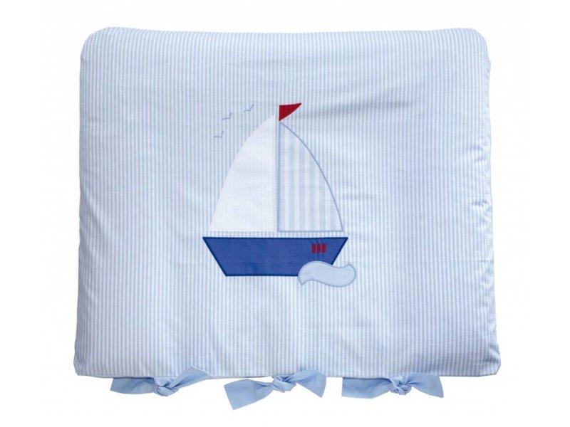 Annette Frank Wickelauflage Angela hellblau mit Segelboot 80 x 70 cm
