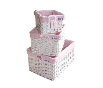 Annette Frank Regalkorb Vichy rosa in 3 Größen