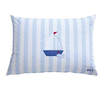 Annette Frank Spielkissen Segelboot hellblau 50 x 70 cm