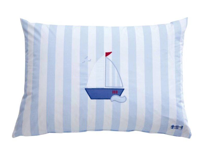 Annette Frank Spielkissen Segelboot Maxistreifen hellblau 50 x 70 cm
