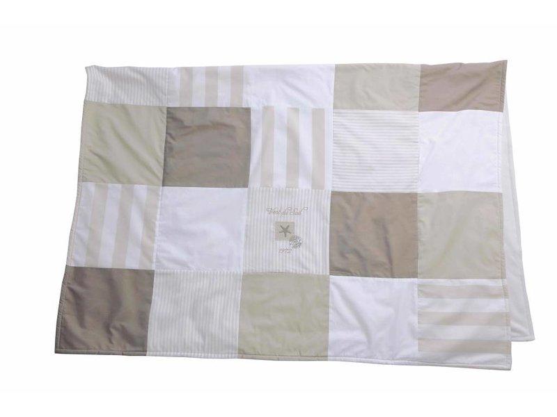Annette Frank Patchworkdecke Seestern beige-weiß 100 x 140 cm