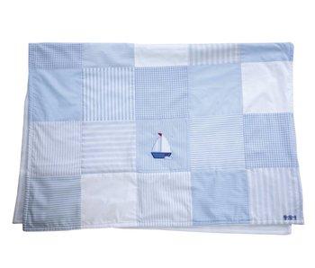 Annette Frank Patchworkdecke Segelboot hellblau 100 x 140 cm