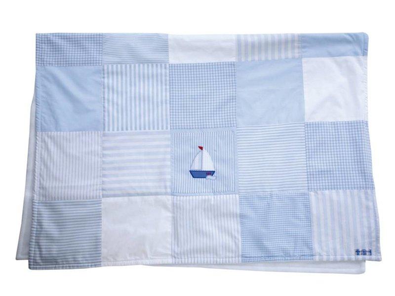 Annette Frank Patchworkdecke Segelboot hellblau-weiß 100 x 140 cm
