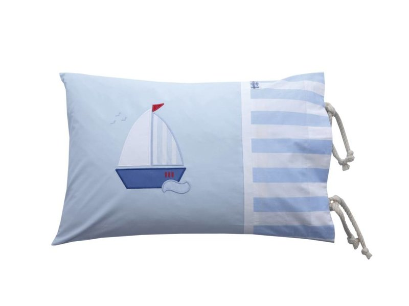 Annette Frank Kissenbezug Segelboot hellblau 40 x 60 cm