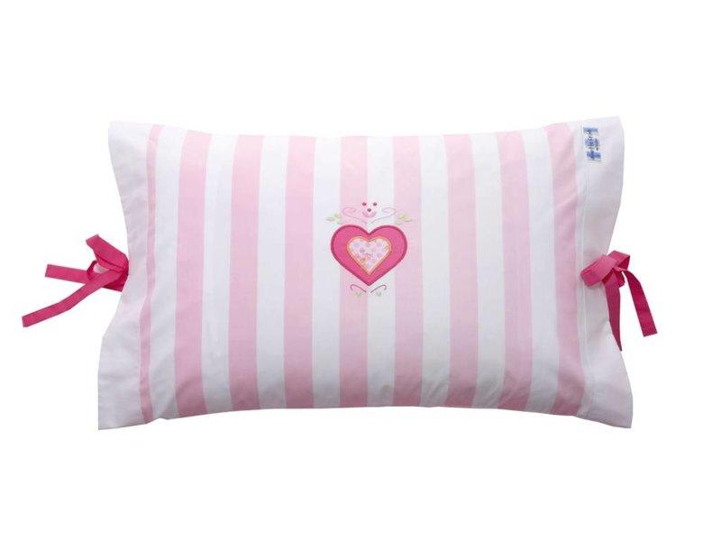 Annette Frank Kissenbezug Herz rosa 40 x 60 cm mit Schleifen