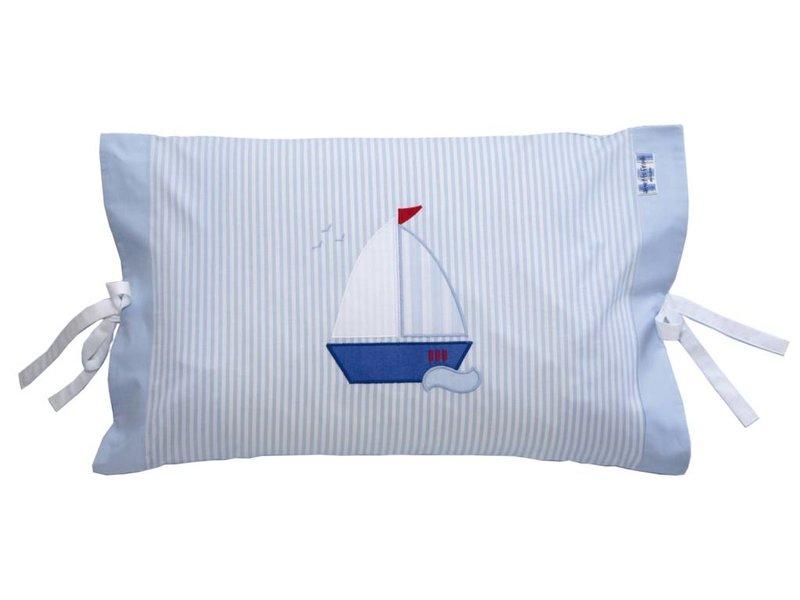 Annette Frank Kissenbezug Segelboot hellblau 40 x 60 cm mit Schleifen